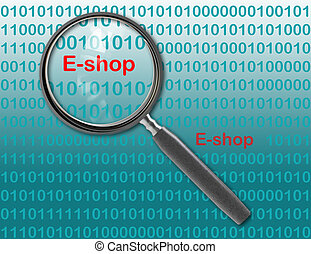E-shop - Close up of magnifying glass on E-shop