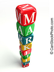 marketing word on colorful dice tower on white background...