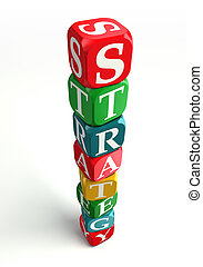 strategy colorful dice tower on white background with...