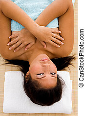 high angle view of adult woman in towel