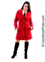 female model in overcoat on an isolated white background