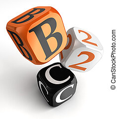 b2c orange black dice blocks