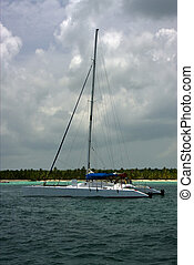 boat yacht and summer republica dominicana - harbor rock...