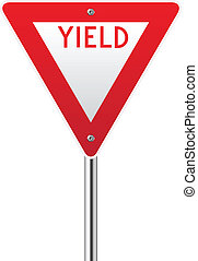Yield sign on white background