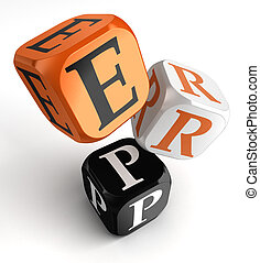 Erp orange black dice blocks - Enterprise Resource Planning...