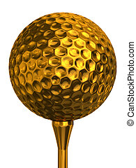 golf ball gold on tee - golf ball gold on golden tee...