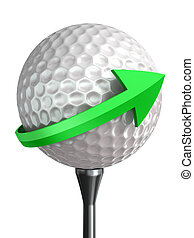 golf ball on tee and green arrow isolated on white...