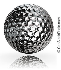 golf ball silver metal on white background. clipping path...
