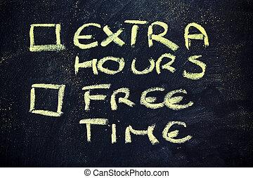 doubts:, opción, entre, trabajo, libre, tiempo