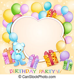 Birthday card with  balloons, gifts and teddy bear