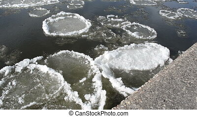 river floe flow winter - dark river swims large pieces of...