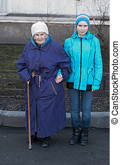 Grandmother and granddaughter for a walk