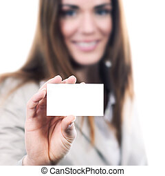 woman handing a blank business card over white background