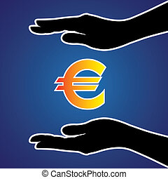 Vector illustration of protecting or safeguarding euro money...