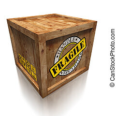 wooden box crate with grunge fragile symbol