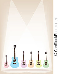 Six Colorful Guitar on Brown Stage Background - Music...