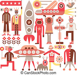 Humans and Aliens - Humans meet friendly aliens from other...