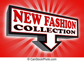 new fashion collection sign with arrow