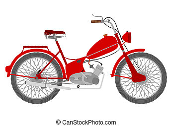 Vintage red motorcycle on a white background