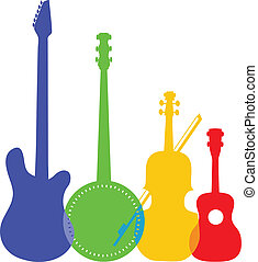 Instruments Color - A group of silhouetted and colorful...