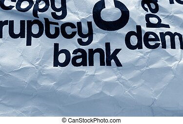 Bank text on crinkled paper