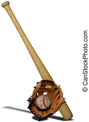 Baseball glove,bat and ball - Baseball bat, ball and glove...