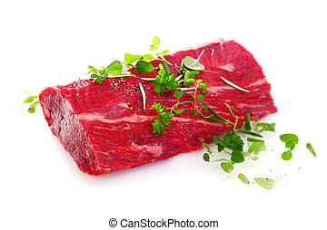 Succulent raw fillet steak - Succulent portion of lean raw...