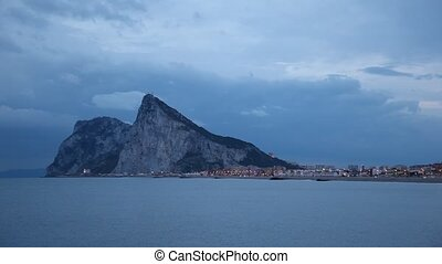 The Rock of Gibraltar at dusk