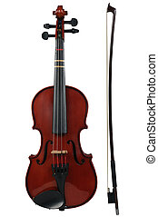 Violin and bow isolated over a white background with path