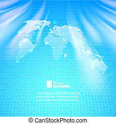 Abstract binary code background with world map
