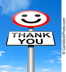 Thank you concept - Illustration depicting a sign with a...