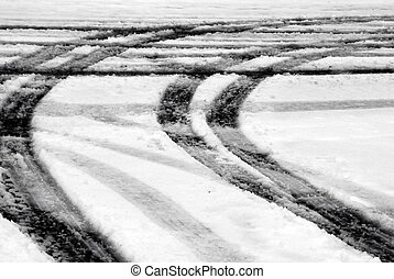 Winter Tracks - Tire tracks in the snow