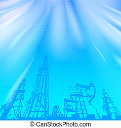 Oil rig and pump over blue luminous ray - Oil rig and oil...