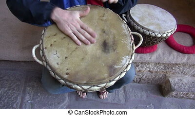 playing with tabla drums in India - playing with tabla drums...