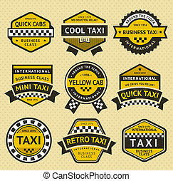 Taxi cab set insignia, vintage style, vector illustration