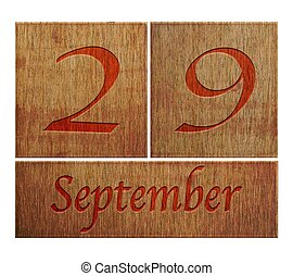 Wooden calendar September 29. - Illustration with a wooden...
