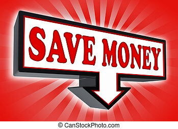 save money red and black arrow sign on red striped background