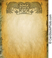 Mayan god on old stone - Background in American Indian Style...