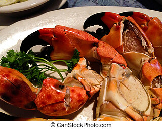Steamed, cracked stone crab claws - In Florida stone crab...