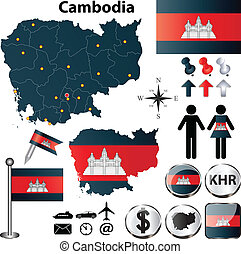 Map of Cambodia - Vector of Cambodia set with detailed...