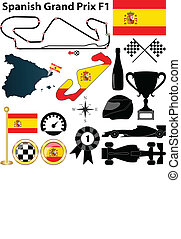 Spanish Grand Prix F1 - Vector set of Spanish Grand Prix F1...