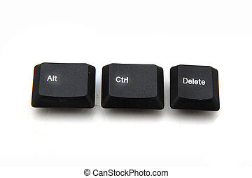keyboard keys - ctrl, alt, del isolated on the white...