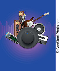 knob - illustration of knob with audio device