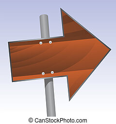wood sign - vector illustration of a wooden direction sign