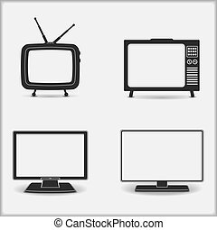 Retro and modern TV icons, vector eps10 illustration