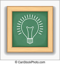 Bulb Icon - Blackboard with icon of a bulb, vector eps10...