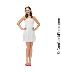 woman in white dress - picture of young woman in white dress...