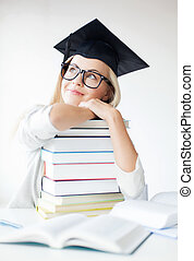 student in graduation cap - picture of happy student in...