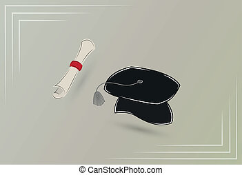 graduation - paper with red ribbon and black cap