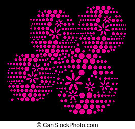 dot flower black background vector art